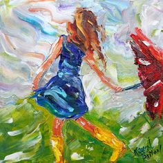 Original oil painting Rain Dance Girl by Karensfineart