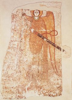 Archangel Michael drawing a sword, Faras. (Second half of the 10th century)