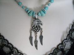 Eagle Feather Turquoise Necklace, southwestern jewelry cowgirl country western native american gypsy gemstone southwest wedding boho hippie