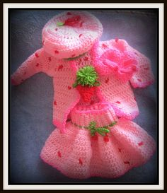 Strawberry Shortcake Crochet Hat And Skirt Sweater Bootie Set Pattern on Etsy, $5.99