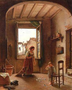 Gaetano Chierici (1838-1920) - Incidenti domestici | par Occhio Fantastico Cottage Art, Winter Painting, Great Paintings, Oil Paintings, European Home Decor, Dutch Painters, Caravaggio, Pretty Art, Art Boards