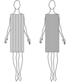 Fashion Optical Illusion & Vertical Lines:  the placement of the vertical lines is also important. The closer they are spaced together, the slimmer you will look.  These two shapes are exactly the same size, yet the box on the right looks thinner.