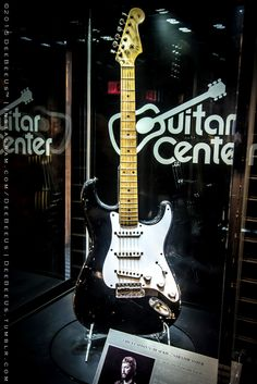 """The actual, bona fide """"Blackie"""", EC's main guitar for many many years, On display at Guitar Center in Times Square, Manhattan. The plaques says they bought it at the 2004 Crossroads auction for a little under $1,000,000!"""