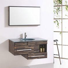Contemporary Floating Bathroom Vanity Cabinet with Mirror Luxury Bathroom Vanities, Bathroom Vanity Cabinets, Bathrooms, Guest Bathroom Remodel, New Bathroom Ideas, Marble Countertops, Contemporary, Modern, Double Vanity