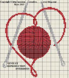 Grille gratuite point de croix : Coeur tricot