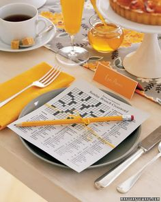 Crossword at each place setting- cute for a shower or birthday party