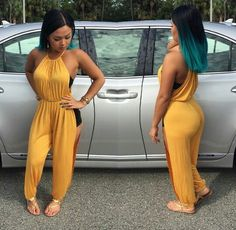 jumpsuit outfit gold yellow style sandals one piece Classy Sexy Outfits, Dope Outfits, Stylish Outfits, Dope Fashion, Fashion Moda, Fashion Killa, Kinds Of Clothes, Clothes For Women, Women's Clothes