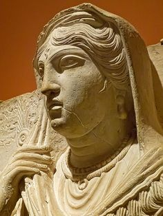 Another view of Funerary Portrait of Balya Daughter of Yarkhai from Palmyra in Roman Syria 150-200 CE Limestone