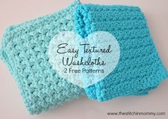 Easy Textured Washcloths - Two Free Patterns: Grit Stitch and Moss Stitch (both 10x10 but can be adjusted)