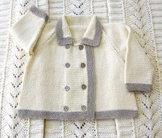 Gorgeous double breasted jacket with a contrasting trim is very easy to knit and looks fabulous on, could be for either girl or boy. The garment has been designed to be a loose fit.