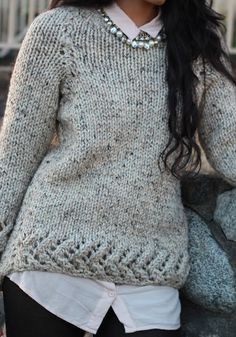 warm wool chunky knitted sweater oatmeal colour via Etsy.