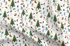 Kids Cotton Fabric Fat Quarter Winter Village Snow Fun Christmas Tree  By Spoonflower#christmas #cotton #fabric #fat #fun #kids #quarter #snow #spoonflower #tree #village #winter Chiffon Fabric, Satin Fabric, Cotton Fabric, Polyester Satin, Canvas Fabric, Cotton Canvas, Minky Fabric, Denim Fabric, Village Kids