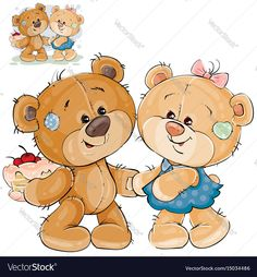 Vector illustration of a brown teddy bear holding a cake behind his back and wants to treat them to his girlfriend. Print, template, design element. Download a Free Preview or High Quality Adobe Illustrator Ai, EPS, PDF and High Resolution JPEG versions.