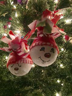 Snowmen Ornament from Old Burnt Out Bathroom Light Bulbs