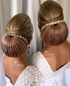 The old, classic bun that all brides love ❤️👰🏼 Medium Hair Styles, Curly Hair Styles, Natural Hair Styles, Sleek Hairstyles, Bride Hairstyles, Evening Hairstyles, Beautiful Hairstyles, Gorgeous Hair, Hair Designs