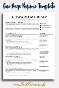 Modern Resume Templates Package includes: 2 Page Resume Template, 1 Page Resume Template Free matching Cover Letter and References Page included Practical Resume Checklist with Resume Tips is… Business Resume Template, One Page Resume Template, Teacher Resume Template, Modern Resume Template, Resume Templates, Cv Template, Teacher Resumes, Student Resume, Templates Free