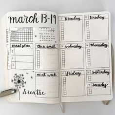 March Bullet Journal Weekly Spread #handlettering #bulletjournal