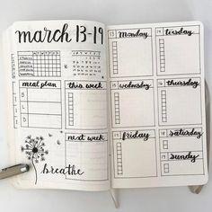 March Bullet Journal Weekly Spread #handlettering #bulletjournal