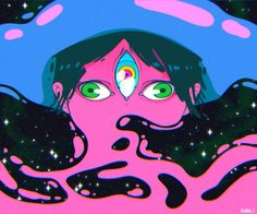 The Midnight Gospel centers on Clancy, a spacecaster with a malfunctioning multiverse simulator who leaves the comfort of his home to interview. Arte Peculiar, Trippy Drawings, Psy Art, Psychedelic Art, Art Inspo, Amazing Art, Art Reference, Illustration, Cool Art