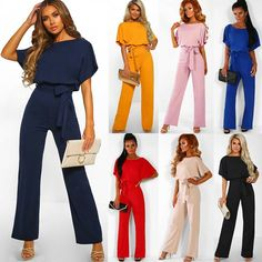 bd13e61a47d One Piece Jumpsuit Womens Short Sleeve Playsuit Work Summer Romper Long  Trousers  fashion  clothing