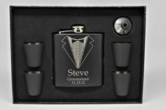 Set of 4, Gift for Groomsman - Engraved Flask with 4 Shot Glasses and Funnel - Groomsman Gift - Best Man Gift
