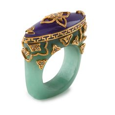 Ring | Bochic Designs. Green jade, purple jade, white diamonds, gold