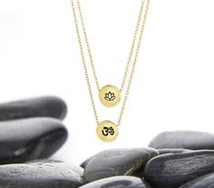 Yoga Jewlery Made from Eco-Friendly Metals, Lotus and Om Layer Necklace