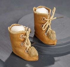 """What Finespun Threads"" - Antique Doll Costumes, 1840-1925 - March 12, 2017: 111 Pair of Tan Leather Ankle Boots, Size 2, by Bru"