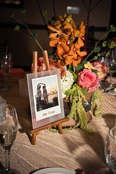 Idea to display table name - easel with photograph / postcard