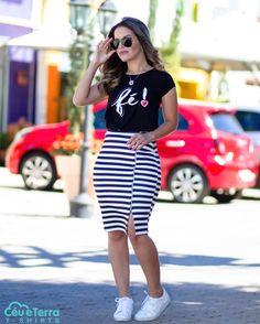 How to Wear Pencil Skirt with Tennis – 17 Wonderful Looks with the Piece! Spring Outfits, Trendy Outfits, Plus Size Outfits, Cute Outfits, Look Fashion, Girl Fashion, Fashion Outfits, Fashion News, Casual Chic