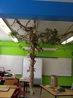 My paper bag tree for my jungle themed classroom! Very easy to do.