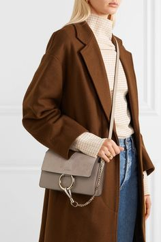 41e93338d945c Chloé - Faye small leather and suede shoulder bag