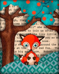 Kids Nursery Art Baby Red Fox Cub Print on Recycled Paper Picture 8x10 boys or girls orange teal brown. $20.00, via Etsy.