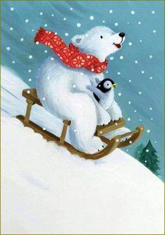 Pauline Siewert - polar bear and penguin sledding - Christmas & Winter illustrations - Polar Bear Christmas, Christmas Animals, Christmas Love, Christmas Pictures, Winter Christmas, Vintage Christmas, Illustration Inspiration, Illustration Noel, Winter Illustration