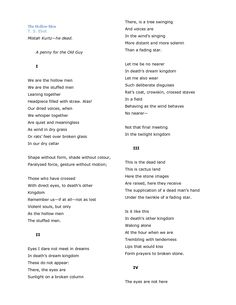 an analysis of ts eliots poem the hollow men Brief summary of the poem the hollow men the hollow men by ts eliot home / poetry / the hollow men / the hollow men are afraid to look at people or to be.