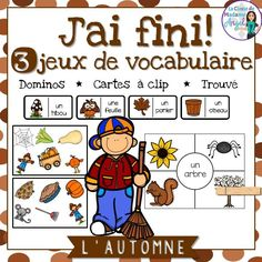Automne: 3 Autumn/Fall Themed Vocabulary Games in French French Teaching Resources, Teaching Jobs, Teaching French, Student Learning, Autumn Theme, Autumn Fall, Core French, French Immersion, Vocabulary Games