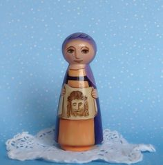 Saint Veronica Wood Peg Doll / Catholic Saint by MariLeeMcCloskey