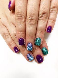 Mermaid nails. Glitter nails #PreciousPhan