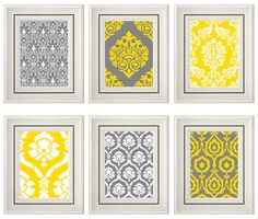 Set of Six Modern Yellow/Grey Wall Art - Print Set - Home Decor- 8x11  (Unframed)