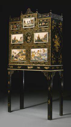 - A fine and rare Regency pietre dure mounted black-japanned and parcel-gilt cabinet on stand circa 1810, the pietre dure panels late 17th/early 18th century ./tcc/