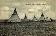 Blackfoot Indian Tipis Photographed in Alberta, Canada in the early 1900s