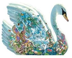 Jumbo Angelic Swan Shaped Jigsaw Puzzle 1000 Pieces - J01665 Fantasy Fairies #Jumbo