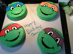 this will be what i do for waynes party.it looks easy lol 5th Birthday Cake, Turtle Birthday Parties, Ninja Turtle Birthday, Ninja Turtle Party, Ninja Turtles, Birthday Ideas, Tmnt Cake, First Birthdays, Party Ideas