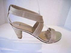 Donald J Pliner Vona SOFT GOLD METALLIC heel strappy Sandals shoes  5 1/2, NEW #DonaldJPliner #Strappy #Casual