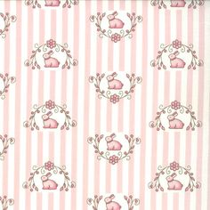 Windsor Lane Bunny Hill Fabric Flower Garland and Nesting Rabbits on Ivory and Petal Pink Stripes 2844-11