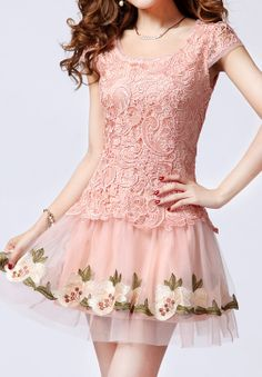 Pink Short Sleeve Embroidery Lace Organza Dress US$36.07
