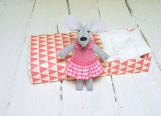 Woodland animal plush stuffed felt mouse in a by atelierpompadour