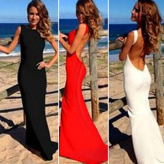 Sexy Women Backless Sleeveless Bodycon Party Cocktail Evening Long Maxi Dress