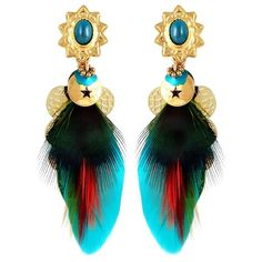 Women's Gas Bijoux Small Sao Feather Earrings (7,675 INR) ❤ liked on Polyvore featuring jewelry, earrings, multi, cocktail jewelry, gas bijoux, charm earrings, evening jewelry and charm jewelry