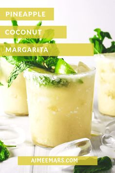 Perfect for poolside sipping, this Pineapple Coconut Margarita is the best of both a pina colada and a margarita with only one hand needed. Coconut Margarita, Pineapple Margarita, Margarita Recipes, Pina Colada Margarita Recipe, Orange Julius Pina Colada Recipe, Pineapple Juice, Drinks Alcohol Recipes, Yummy Drinks, Cocktail Recipes